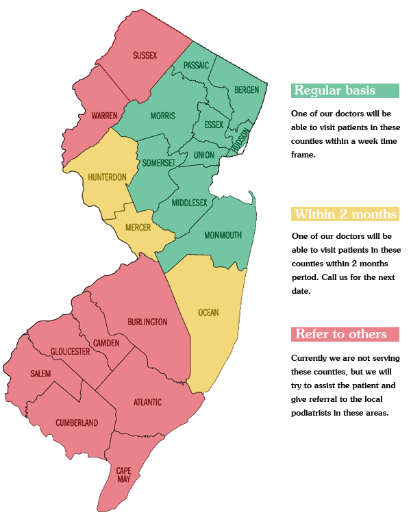 New Jersey Home Foot Care Service Areas by Counties